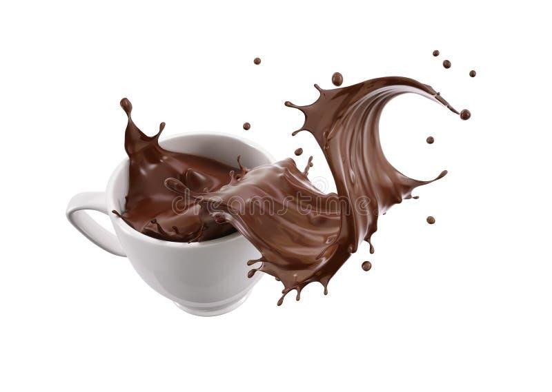 Biała porcelana kubka filiżanka z ciekłym czekolady fali pluśnięciem ilustracja wektor