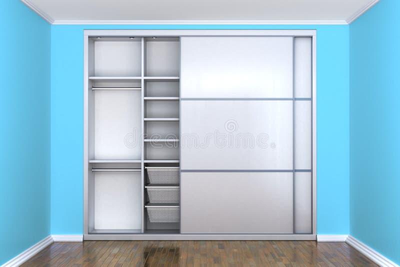 Biała przedział garderoba z otwarte drzwi w pokoju z błękitnymi ścianami garderoba royalty ilustracja