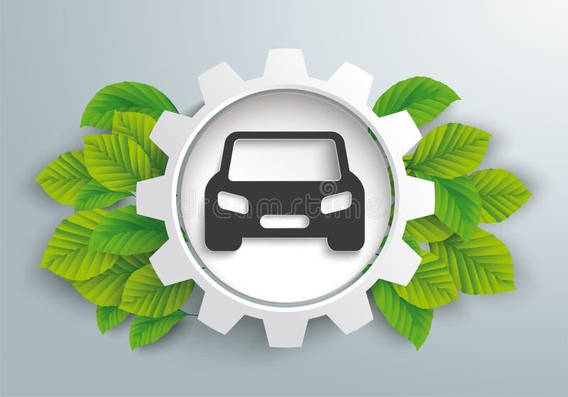 Biała przekładni koła zieleń Opuszcza Eco samochód ilustracja wektor