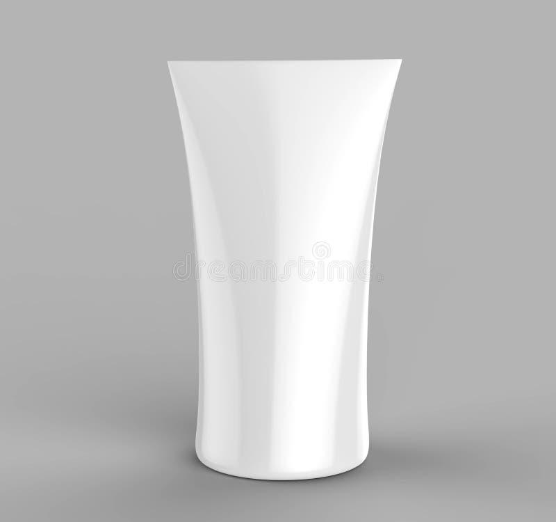 Biała pusta kopia popierający kogoś wystawy handlowa napięcia tkaniny totemu sztandaru drukujący wyginający się odgórni stojaki i ilustracja wektor