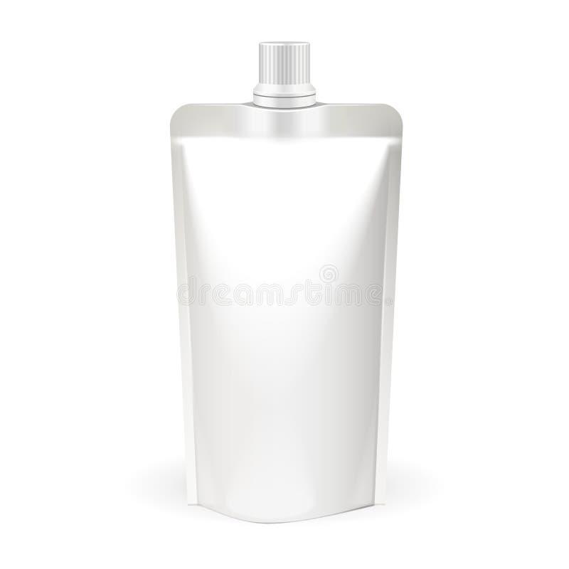 Biała Pusta paczka, Doypack Karmowa torba Pakuje Z Spout deklem Produkty Na Białym tle Odizolowywającym eps10 kwiatów pomarańcze  royalty ilustracja