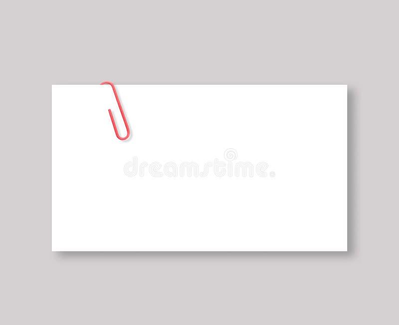 Biała pusta przestrzeń i czerwona papierowa klamerka zdjęcie stock