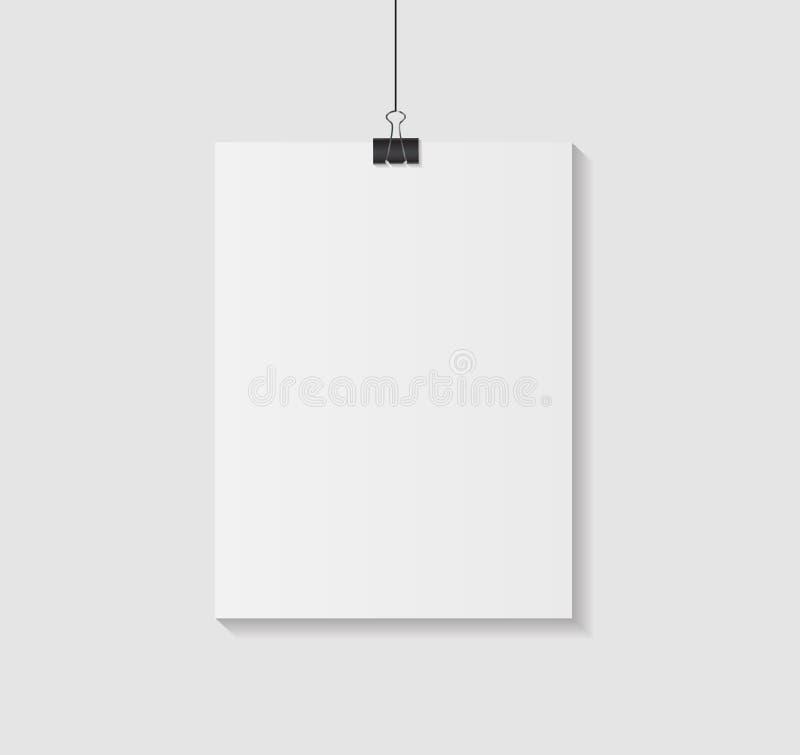 Biała pusta strona z klamerka wektoru ilustracją royalty ilustracja