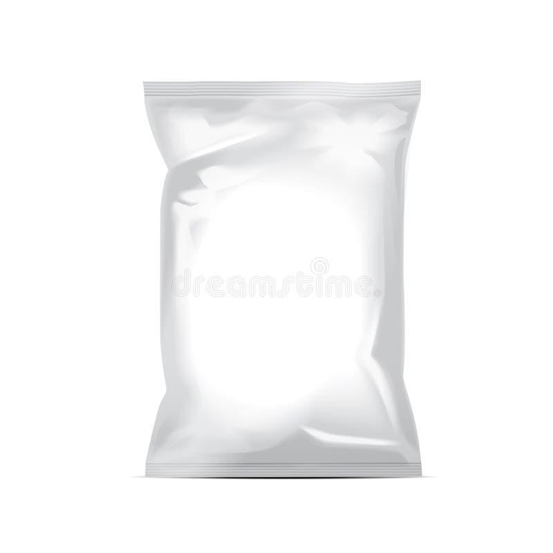 Biała puste miejsce folii torba pakuje dla jedzenia, przekąska, kawa, kakao, cukierki, krakers, dokrętki, układy scaleni Wektorow royalty ilustracja
