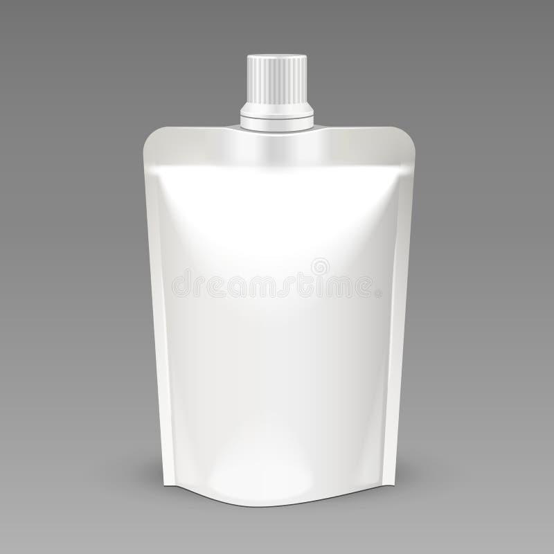 Biała puste miejsce paczka, Foliowy jedzenie Lub napój torba Pakuje Z Spout deklem, Plastikowej paczki szablon ilustracji