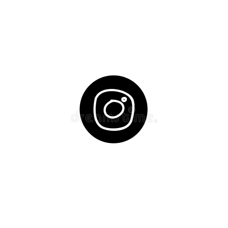 Biała ręka rysująca kamery ikona na czarnym round tle ilustracji
