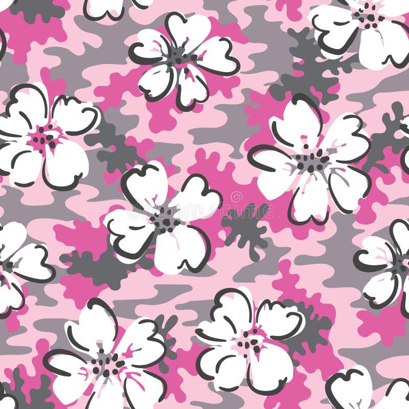 Biała ręka Rysująca Kwitnie na Różowego Camo tła Wektorowym Bezszwowym wzorze Śliczny kamuflaż royalty ilustracja
