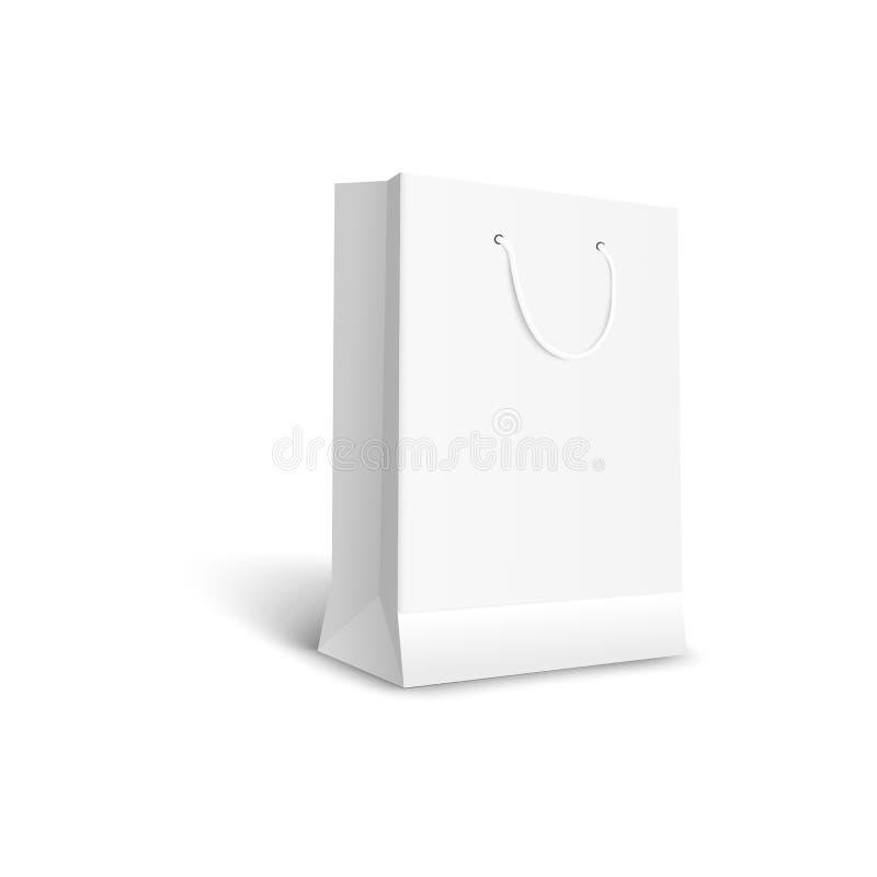 Biała realistyczna papierowa torba z rękojeścią, pusty sklepu detalicznego pakunek royalty ilustracja
