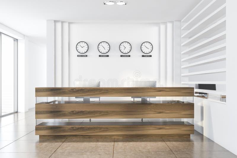 Biała recepcja biurowa z zegary royalty ilustracja