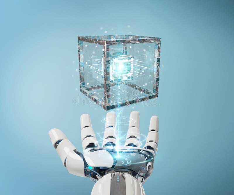 Biała robot ręka tworzy przyszłościowego technologii struktury 3D renderi royalty ilustracja