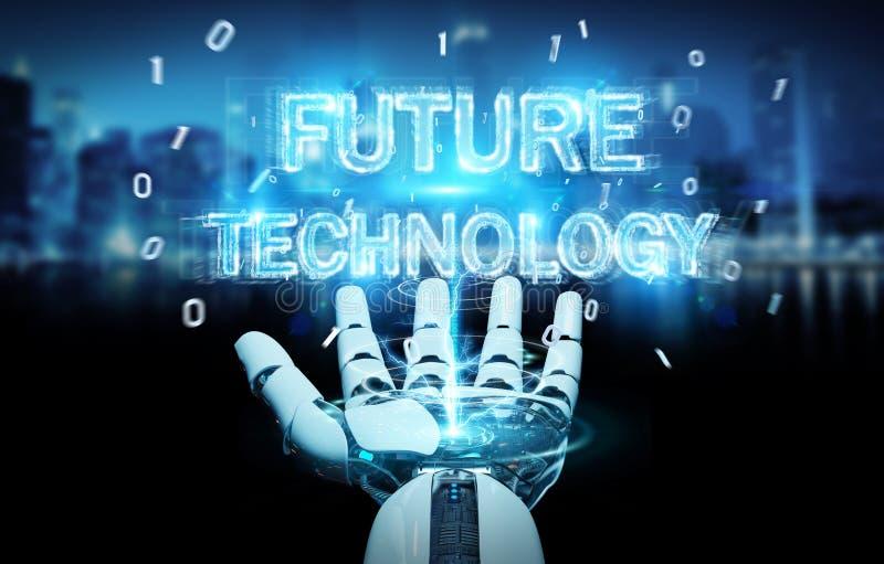 Biała robot ręka używa przyszłościowego technologia teksta hologram 3D odpłaca się royalty ilustracja