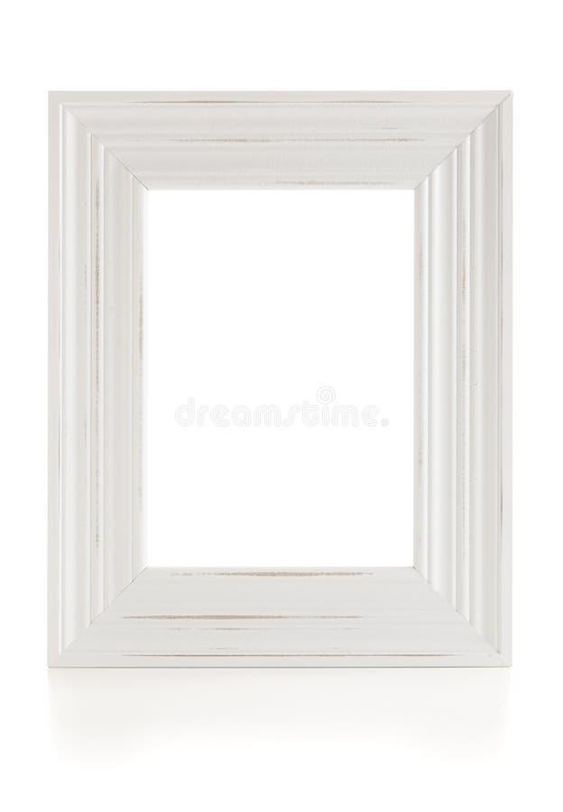 Biała rocznika stylu obrazka rama odizolowywająca z ścinek ścieżką zdjęcia stock