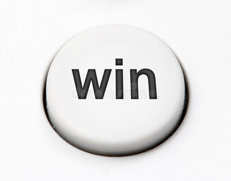 Biała round guzik zmiana - wygrywa, zamyka, up fotografia royalty free