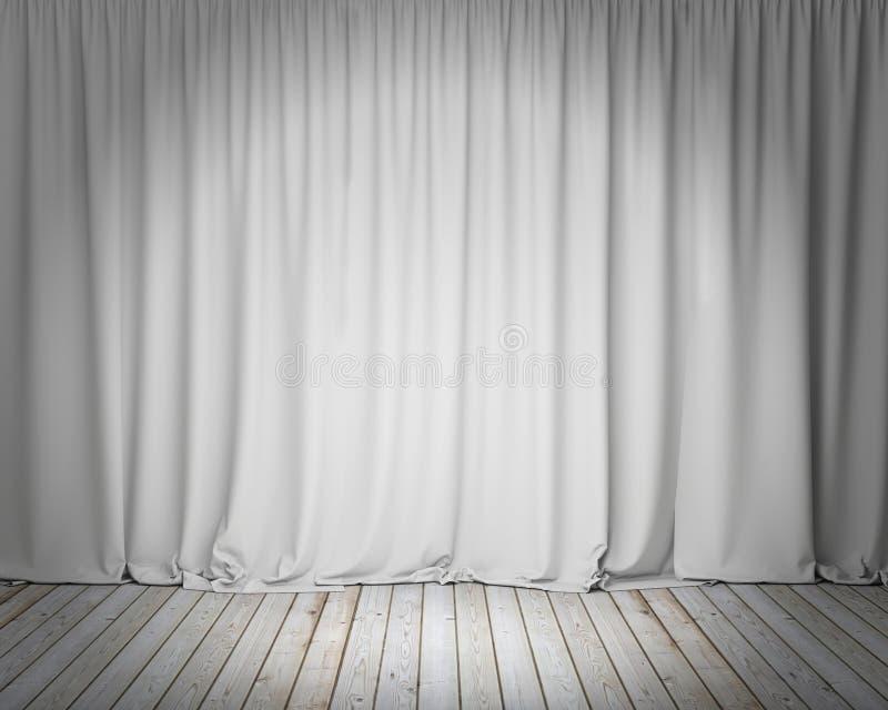 Biała sceny zasłona z drewnianą podłoga, tło ilustracja wektor