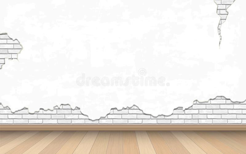 Biała stara ściana i parkietowa podłoga royalty ilustracja