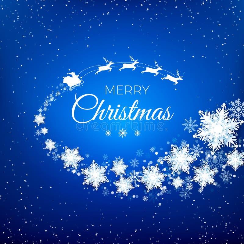 Biała sylwetka latać Święty Mikołaj z reniferowym saniem dekorującym snowflekes i witać tekst wlec royalty ilustracja