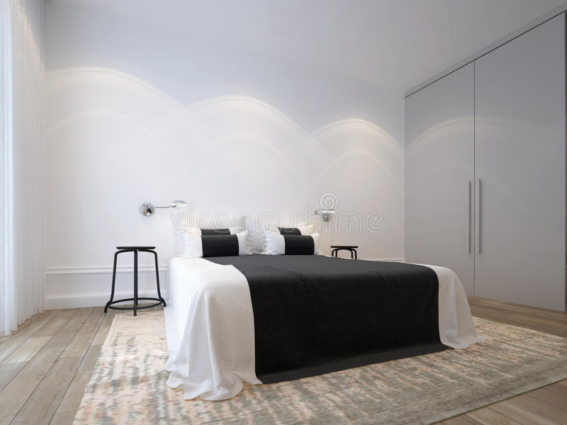 Biała sypialnia obrazy royalty free