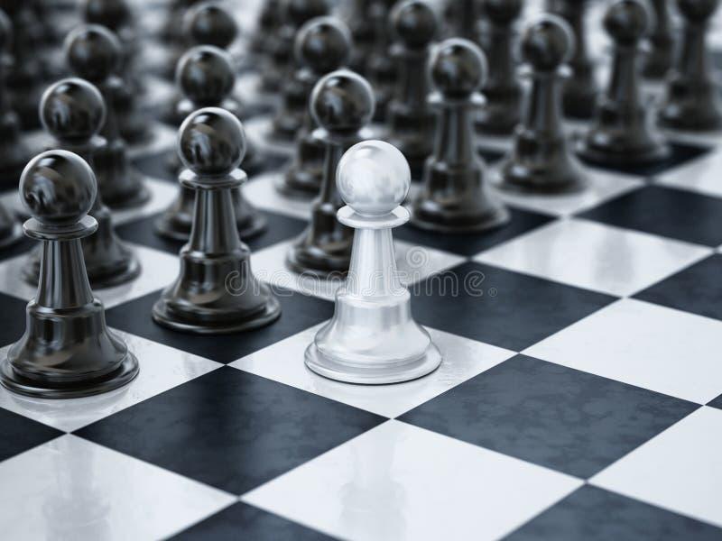 Biała szachowa zastawnicza pozycja jeden kwadrat naprzeciw czarnych szachowych kawałków ilustracja 3 d ilustracji