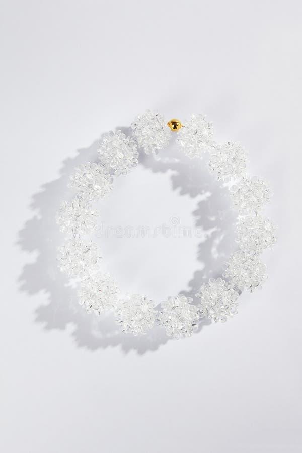Biała szklana kolia zdjęcia royalty free