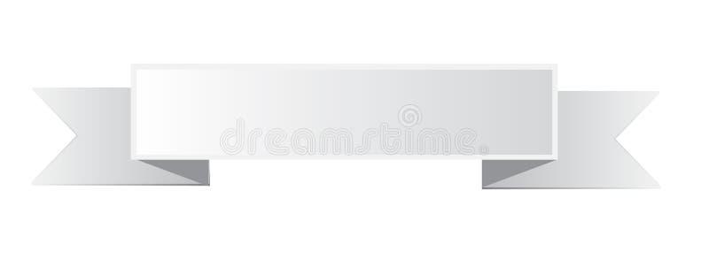 Biała tasiemkowa sztandar ikona na białym tle fotografia royalty free