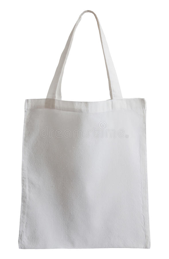 Biała tkaniny torba odizolowywająca na bielu fotografia stock