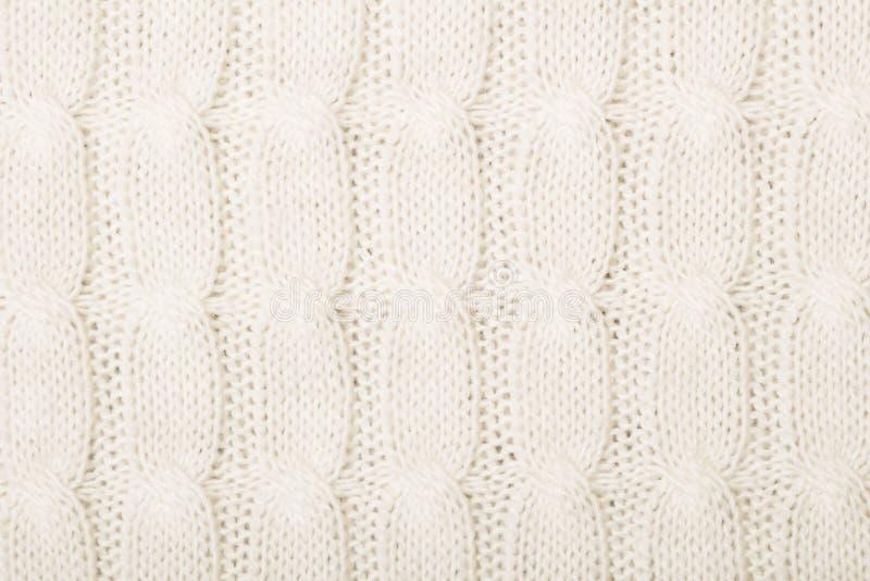 Biała trykotowa tekstura z ornamentem obraz stock