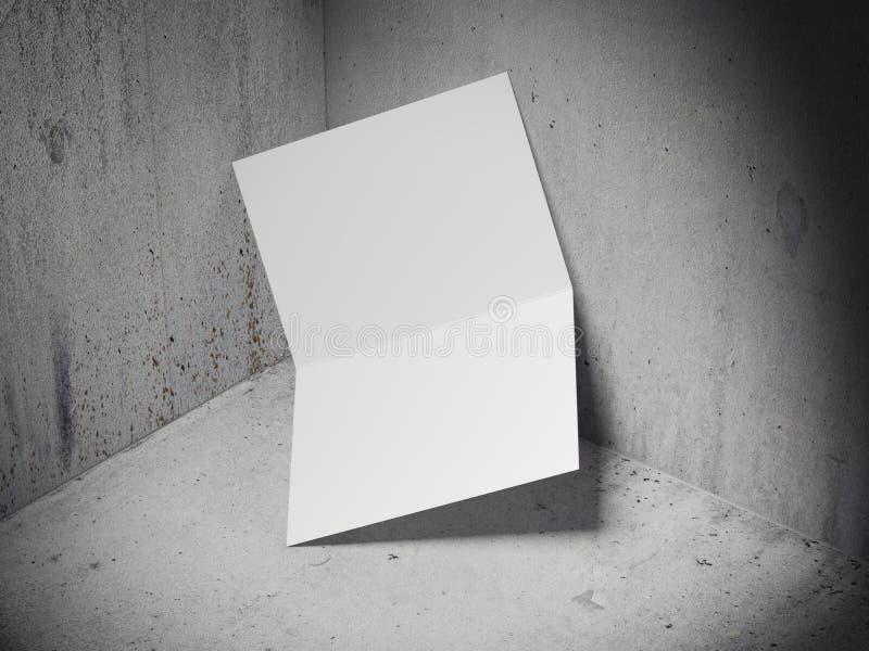 Biała ulotka w betonu kącie świadczenia 3 d zdjęcie stock