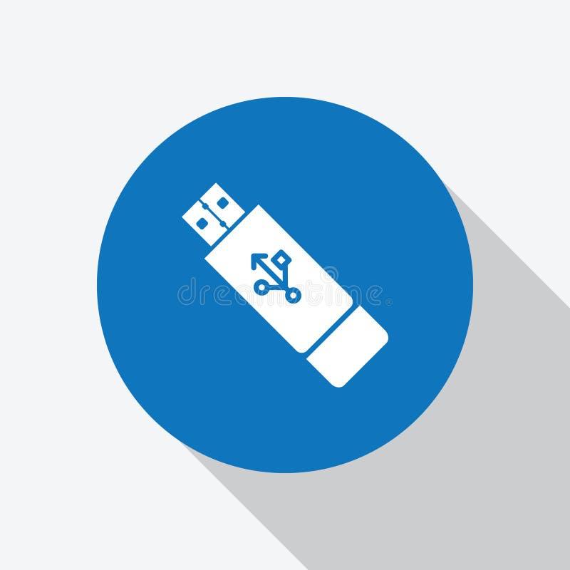 Biała USB błysku przejażdżka, pamięć kija ikona royalty ilustracja