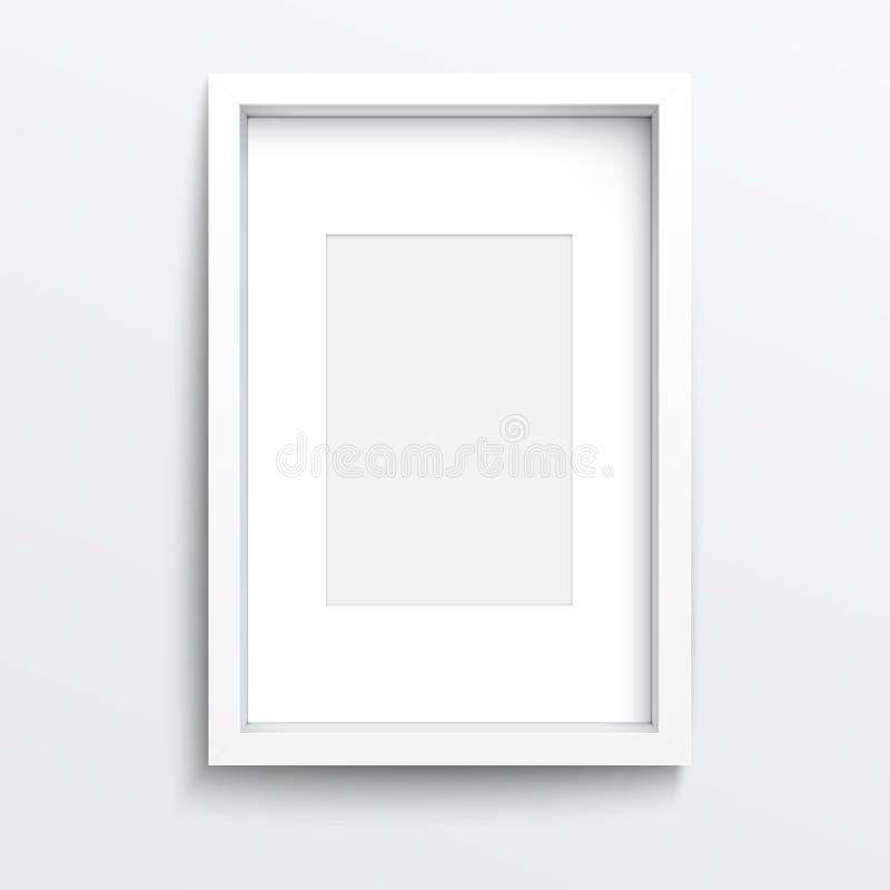 Biała vertical rama na szarości ścianie. ilustracji