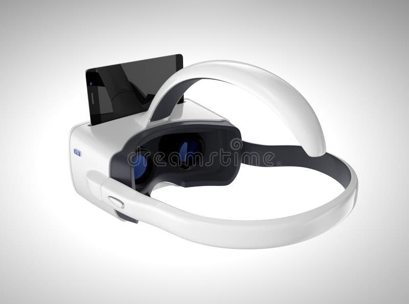 Biała VR słuchawki, smartphone odizolowywający na szarym tle i obrazy stock