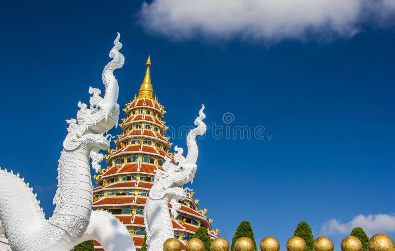 biała wąż statua na pagodowym tle fotografia royalty free