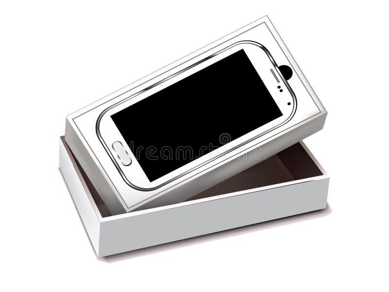 Biała wisząca ozdoba z białego pudełka pakować royalty ilustracja