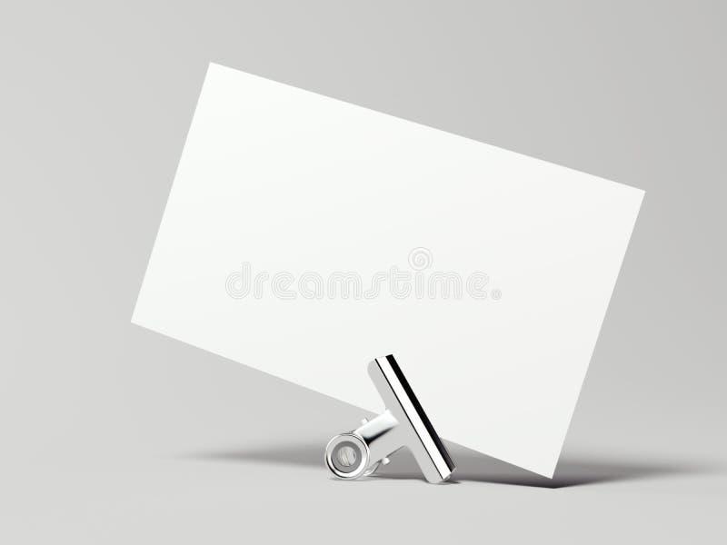 Biała wizytówka z srebną klamerką świadczenia 3 d royalty ilustracja