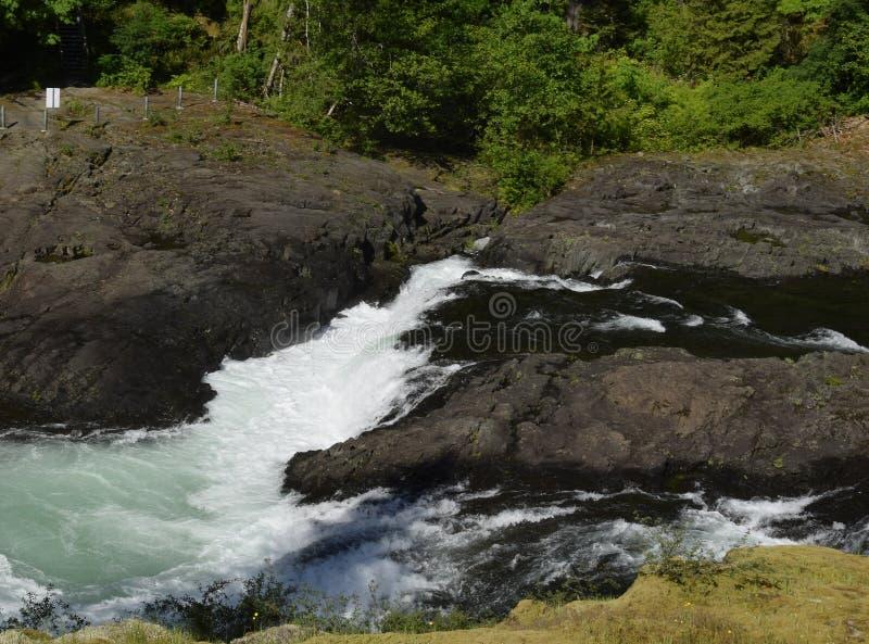 Biała woda i gwałtowni przy łosiów spadkami zdjęcie stock