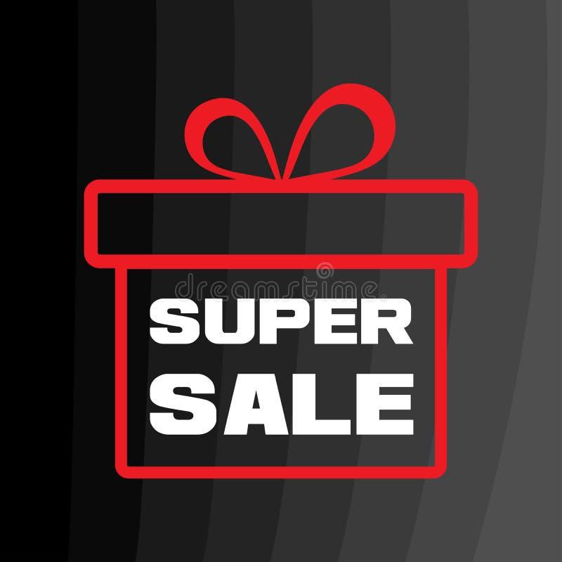 Biała wpisowa SUPER sprzedaż Czerwony prezenta pude?ko na czarnym tle r?wnie? zwr?ci? corel ilustracji wektora royalty ilustracja