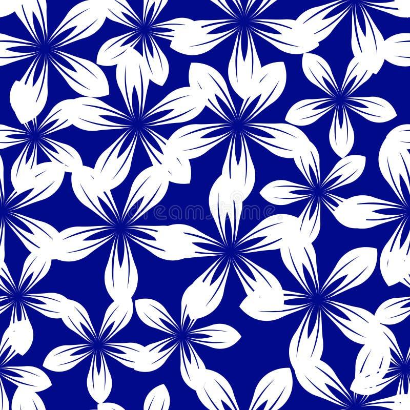 Biała wycinanka kwitnie na błękitnym tle royalty ilustracja