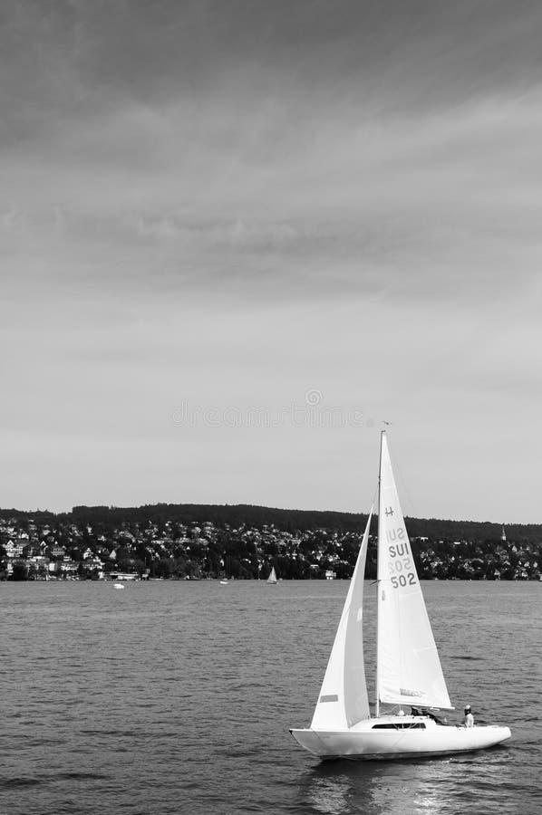 Białe żeglowanie łodzie w jeziornym Zurich, Szwajcaria zdjęcia royalty free