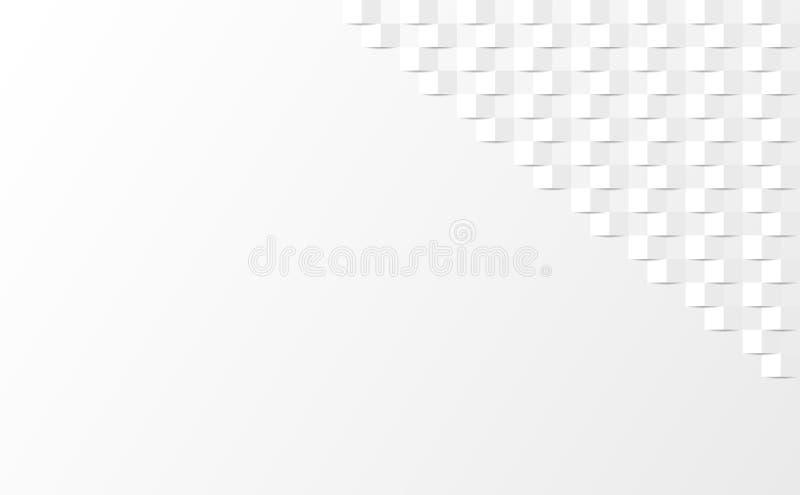 Białe abstrakcyjne tło prostokąta pod cieniami royalty ilustracja
