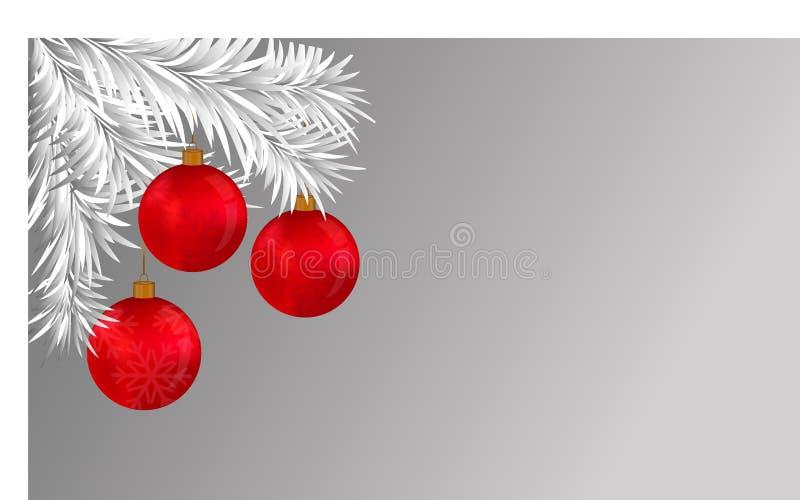 Białe Boże Narodzenie czerwieni i gałąź piłki ilustracja wektor