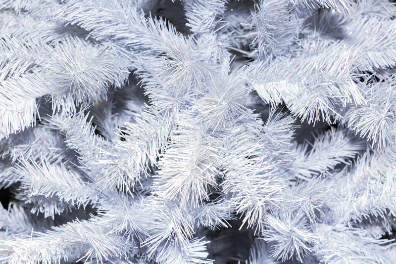 Białe Boże Narodzenie drzewny szczegół dla tła Zakończenie zdjęcia stock