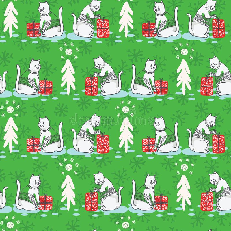 Białe Boże Narodzenie kot w Hafciarskiego puloweru wektoru Bezszwowym wzorze ilustracji