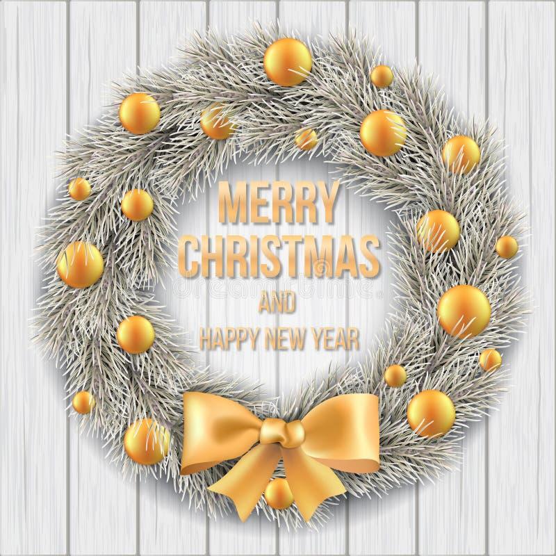 Białe Boże Narodzenie wianek na drewnianym tle