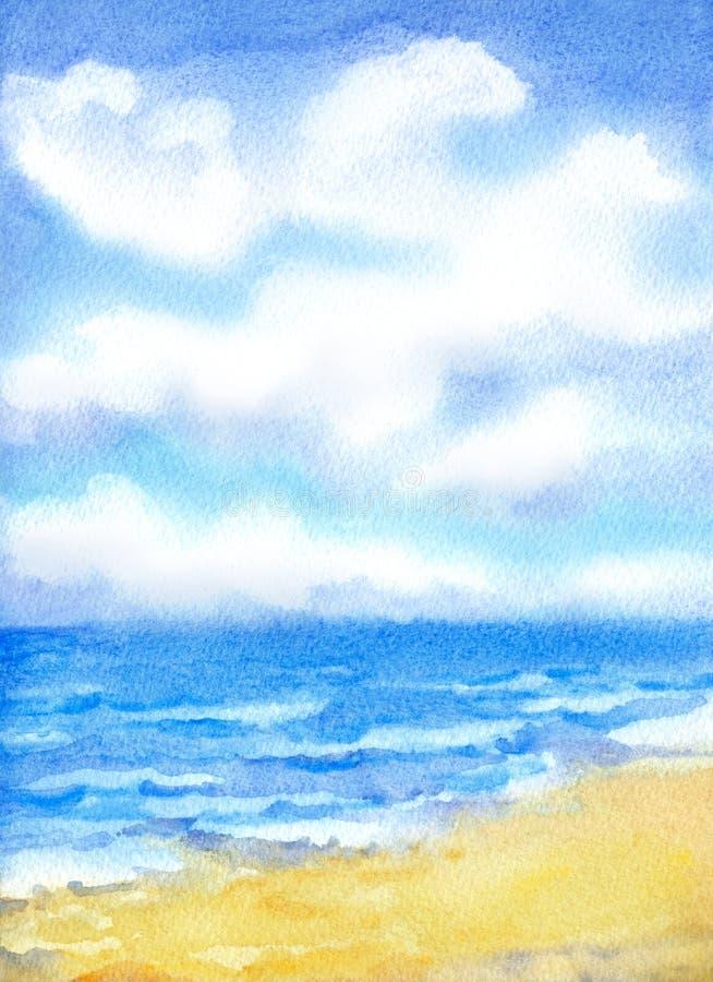Białe chmury w niebieskim niebie nad oceanem surfują royalty ilustracja