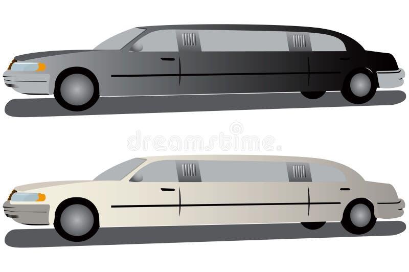 białe czarne limuzyny royalty ilustracja