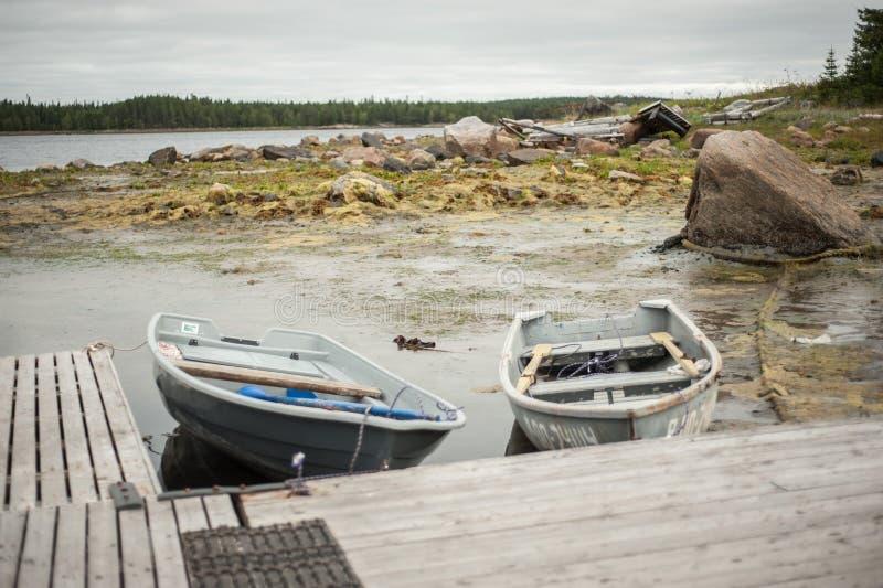 Białe denne łodzie fotografia stock