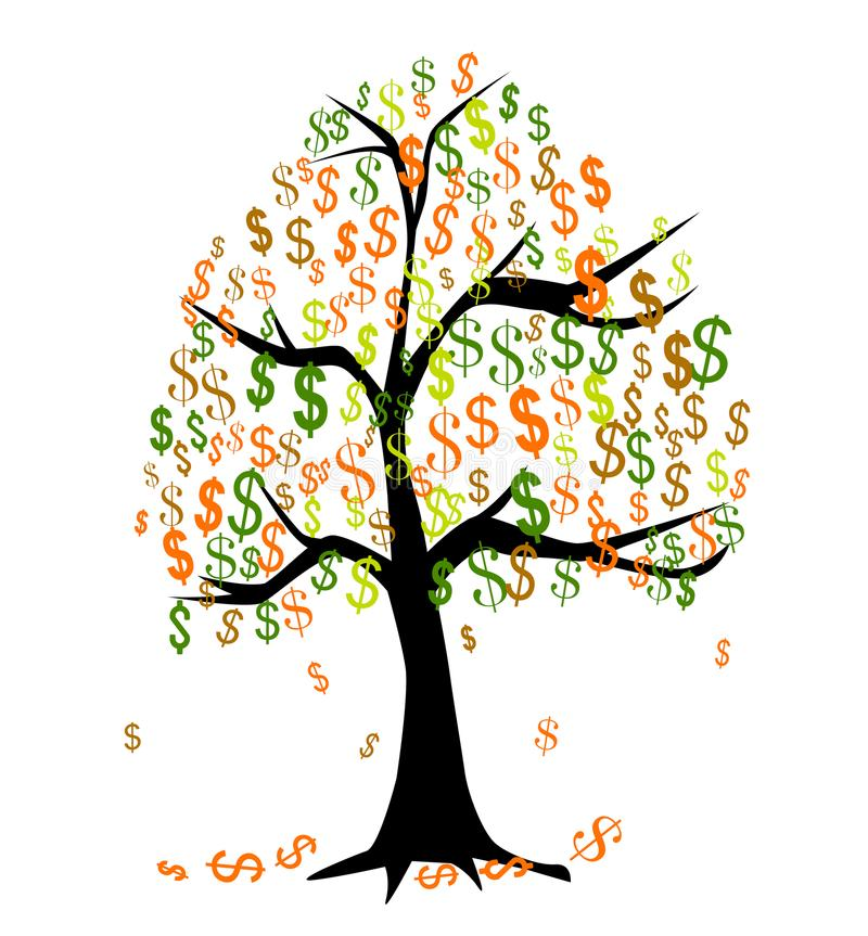 białe drzewo odizolowane pieniądze royalty ilustracja