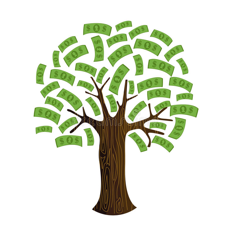 białe drzewo odizolowane pieniądze ilustracji