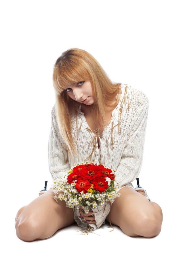białe dziewczyny kwiat obrazy stock