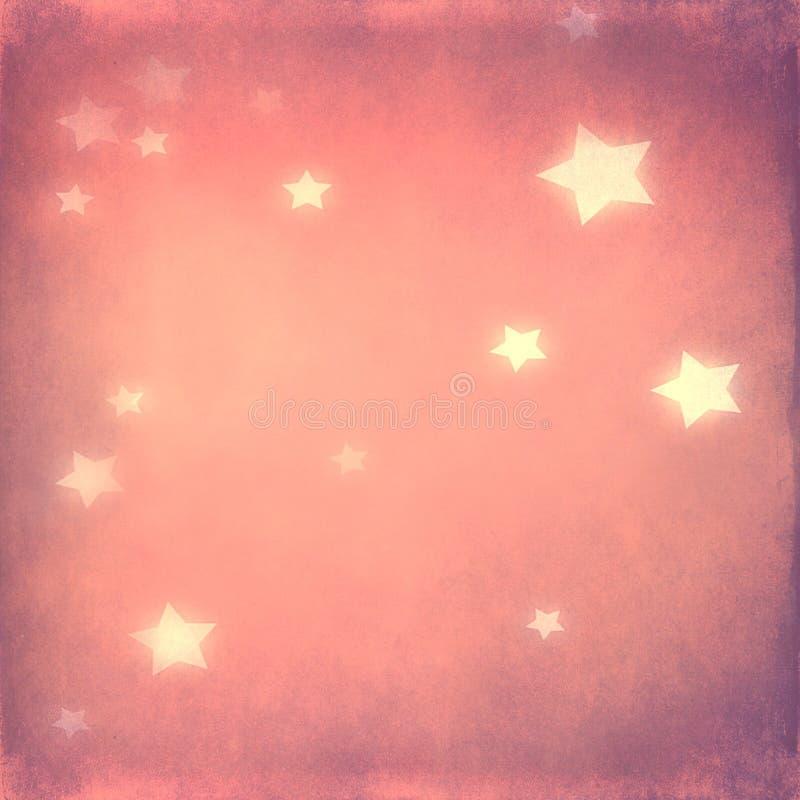 Białe gwiazdy na miękkich części menchii tle ilustracja wektor