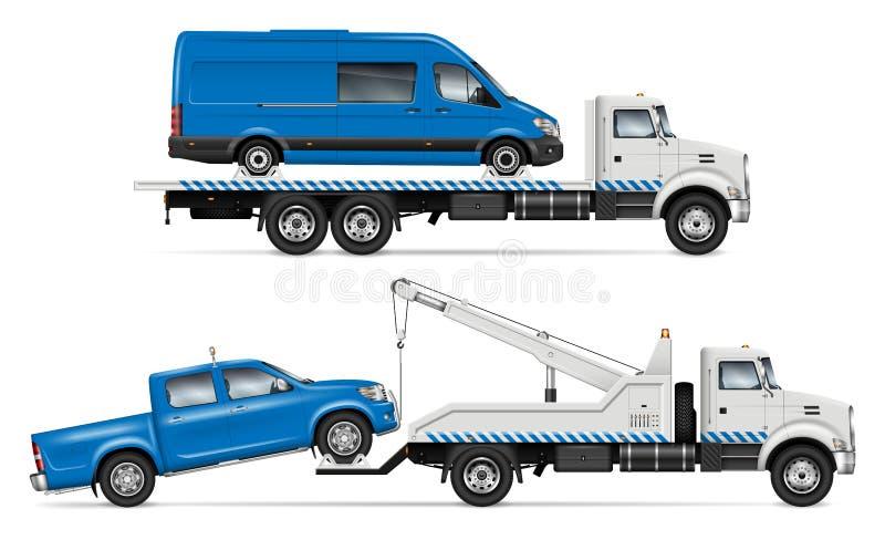 Białe Holownicze ciężarówki wektorowe od bocznego widoku ilustracja wektor